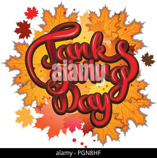 vector thanksgiving day greeting lettering phrase - happy thanksgiving on a background of maple autumn leaves. - Stock Photo