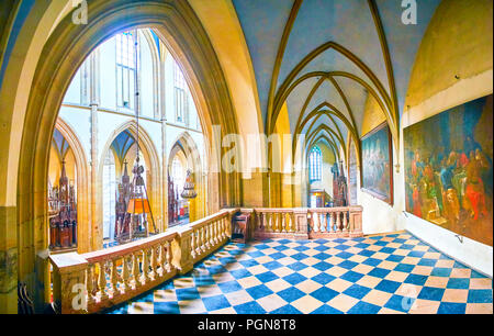 KRAKOW, POLAND - JUNE 11, 2018: Balcony at Basilica of Holy Trinity decorated with paintings on walls, on June 11 in Krakow. - Stock Photo