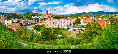 Panorama of the town of Český Krumlov in the Czech Republic. Its historic centre, centred around the Český Krumlov Castle complex. - Stock Photo