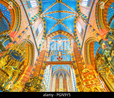 KRAKOW, POLAND - JUNE 11, 2018: Beautiful interior of St Mary Basilica with high ceiling of main prayer hall, on June 11 in Krakow - Stock Photo