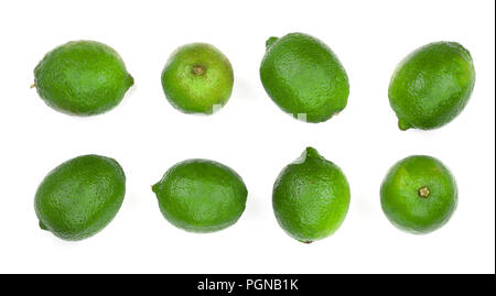 sliced lime isolated on white background. Top view. Set or collection - Stock Photo