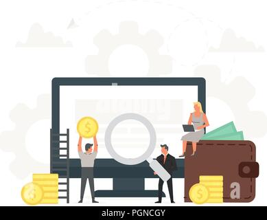 Computer with small businessmen around it vector illustration. Monitor with coins, concept of earnings in internet network, online finance, electronic wallet, freelance work, financial success. - Stock Photo