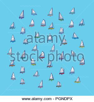Small Sailboat Pattern, Vector Illustration, Summer Fun, Nautical Decorative, Background, illustration, Collection, Miniature, Wallpaper, Fashion - Stock Photo