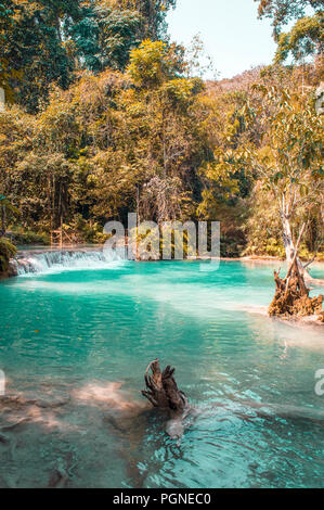 Kuang Si Falls, Lower Pool In Luang Prabang Laos - Stock Photo