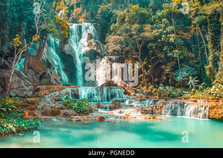 Kuang Si Falls In Luang Prabang Laos - Stock Photo