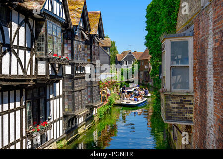 Boaters on the great stour river Canterbury Kent - Stock Photo