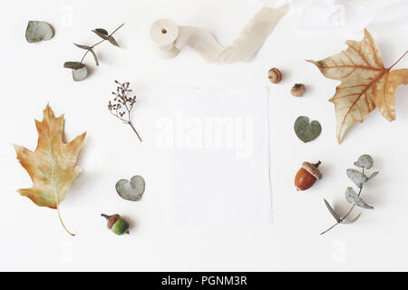 Autumn styled stock photo. Feminine wedding desktop stationery mockup scene with blank greeting card, dry eucalyptus, maple, oak leaves and silk ribbon on white table background. Flat lay, top view. - Stock Photo