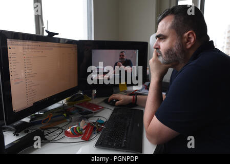 June 5, 2018 - Paris, France: Portrait of Frederic Desnard, a French employee who took his former employer to court over a 'bore-out' case and won. He is pictured at his home in Paris, where he spends most of his time since being fired in 2014. Portrait de Frederic Desnard, le premier salarie indemnise dans un cas de 'bore-out'. L'ancien salarie d'Interparfums a fait condamne son ex-employeur pour avoir manque de travail suite a une crise d'epylepsie. *** FRANCE OUT / NO SALES TO FRENCH MEDIA *** - Stock Photo