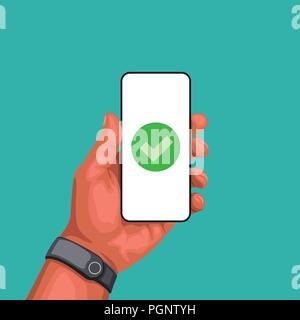hand holding smartphone with succes sign - Stock Photo