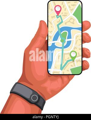 hand holding smartphone with navi - Stock Photo