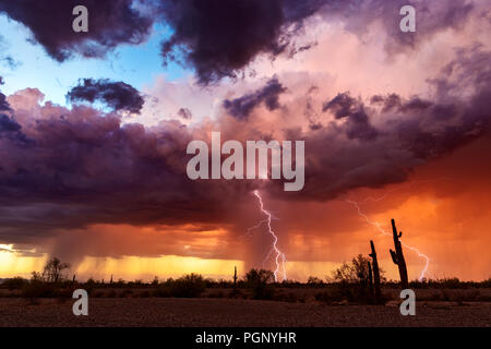 Dramatic thunderstorm clouds with lightning at sunset over the Arizona desert. - Stock Photo