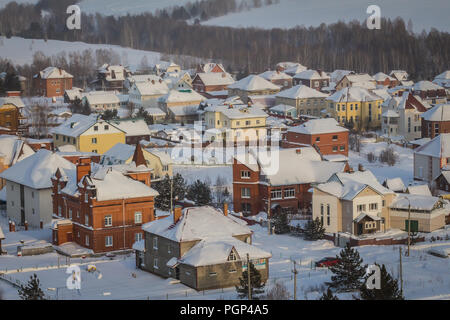 Kemerovo, Russia - January 30, 2018 - townhouses in suburbs - Stock Photo