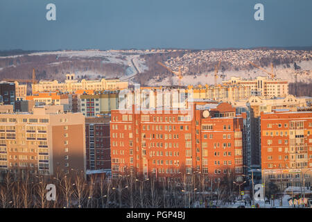 Kemerovo, Russia - January 30, 2018 - aerial winter view of prefabricated multistorey residential buildings - Stock Photo
