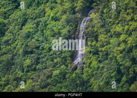 Waterfall on the jungles of the tropical island jungle of Mauritius - Stock Photo