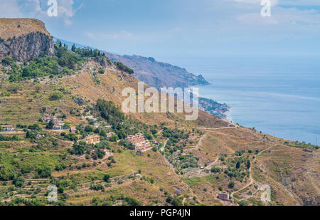 Panoramic view from Castelmola, an ancient medieval village situated above Taormina, on the top of the mountain Mola. Sicily, Italy.