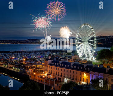 GB - DEVON: Fireworks over Torquay - Stock Photo