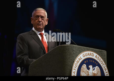Secretary of Defense James Mattis addresses National Guard leaders at the National Guard Association of the United States 140th General Conference, New Orleans, Louisiana, Aug. 25, 2018. (U.S. Army National Guard photo by Sgt. 1st Class Jim Greenhill) - Stock Photo