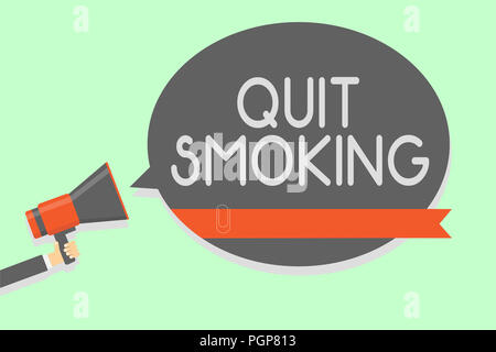Conceptual hand writing showing Quit Smoking. Business photo showcasing Discontinuing or stopping the use of tobacco addiction Man holding megaphone l - Stock Photo