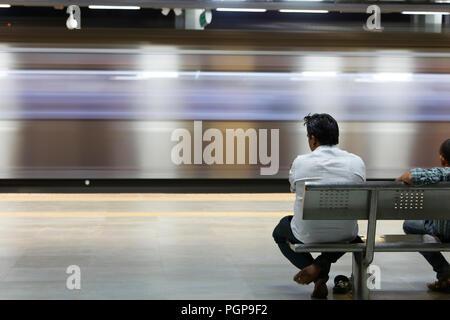 Mumbai Metro train interior and exterior. Comfortable, modern , fast, new & air conditioned way of transport in Mumbai India,