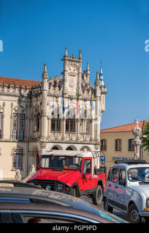 Tower of the municipal building (Town Hall), Sintra (near Lisbon), Portugal - Stock Photo
