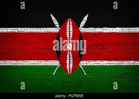 National flag of Kenya on a brick background - Stock Photo