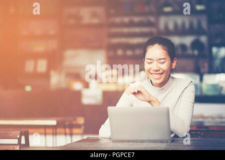business women working with laptop, online business marketing concept - Stock Photo