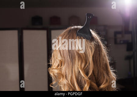 model with little comb in a hair - Stock Photo