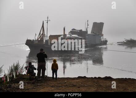 Russia. 13th Aug, 2018. KHABAROVSKY TERRITORY, RUSSIA - AUGUST 13, 2018: A ferry on the Amgun River in Russia's Far East. Yuri Smityuk/TASS Credit: ITAR-TASS News Agency/Alamy Live News - Stock Photo