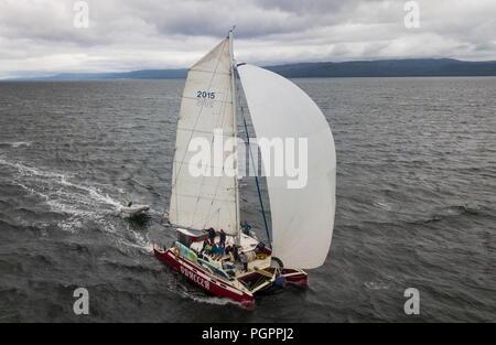 Russia. 13th Aug, 2018. KHABAROVSKY TERRITORY, RUSSIA - AUGUST 13, 2018: A catamaran in the Sea of Okhotsk, in Russia's Far East. Yuri Smityuk/TASS Credit: ITAR-TASS News Agency/Alamy Live News - Stock Photo