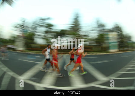 Jakarta. 29th Aug, 2018. Athletes compete during men's 20km walk of athletics at the 18th Asian Games in Jakarta, Indonesia on Aug. 29, 2018. Credit: Ding Ting/Xinhua/Alamy Live News - Stock Photo