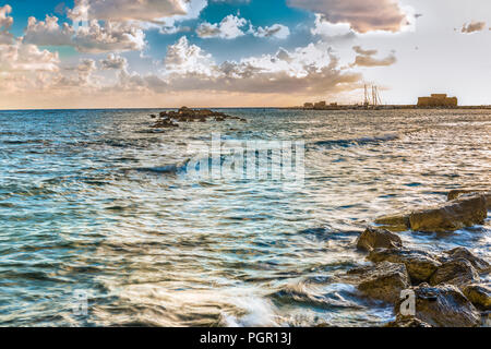 View from the port and the medieval castle in Paphos, Cyprus. - Stock Photo