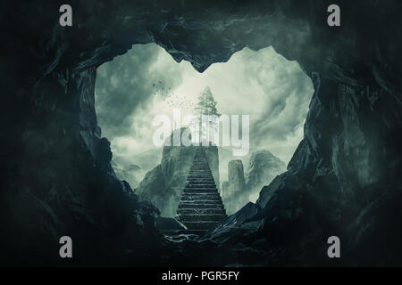 Surreal view heart shaped dark cave exit and mystic stairway crossing the misty abyss going up to unknown paradise. Opportunity staircase to love, way - Stock Photo