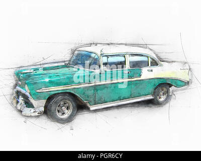 Classic car on the street. Old car Cuba. Drawing - Stock Photo