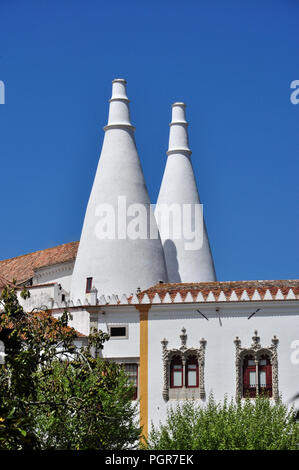 The striking chimneys of the National Palace, Sintra (near Lisbon), Portugal - Stock Photo