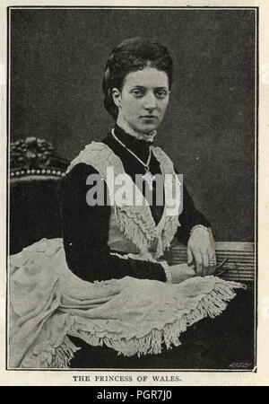 Vintage photograph of Alexandra of Denmark, Queen consort of the United Kingdom and the British Dominions and Empress of India as the wife of King Edward VII. 19th Century - Stock Photo