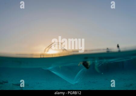 Split shot of a plastic cup floating on the surface of the ocean during sunset - Stock Photo