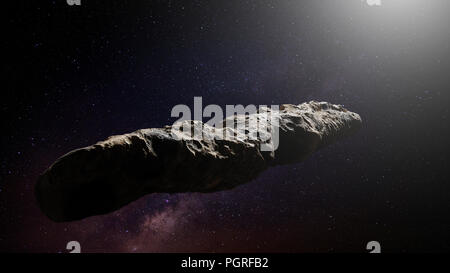 Oumuamua comet, interstellar object passing through the Solar System, unusual shaped asteroid (3d space render) - Stock Photo