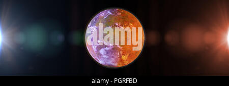 beautiful exoplanet, part of an alien binary star system with a red and blue star (3d space render banner) - Stock Photo