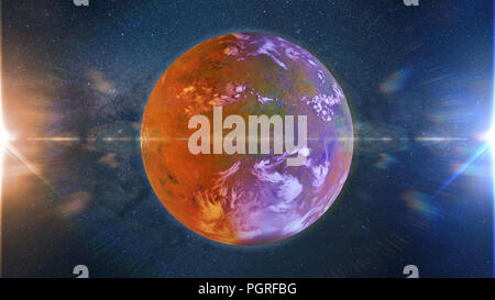beautiful exoplanet, part of an alien binary star system with a red and blue star (3d space illustration) - Stock Photo