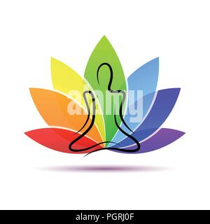 hand drawing yoga person sitting in a lotus pose rainbow colors vector illustration EPS10 - Stock Photo