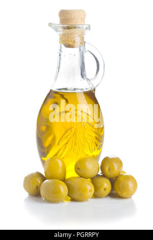 Green olives and olive oil isolated on white background. - Stock Photo