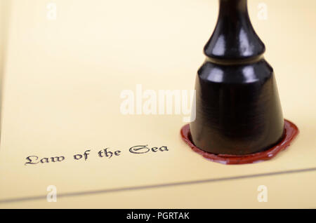 Law of the sea, Scales of Justice , Notary seal, legality concept. - Stock Photo
