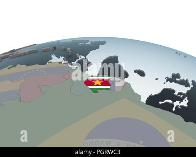 Suriname on political globe with embedded flag. 3D illustration. - Stock Photo
