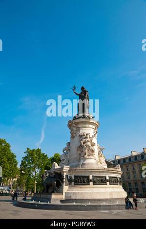 Statue of Marianne, Place de la Republique, Paris, France - Stock Photo