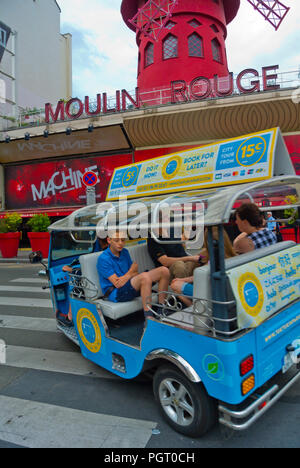 Tuk Tuk, in front of Moulin Rouge, Place Blanche, Pigalle, Paris, France - Stock Photo