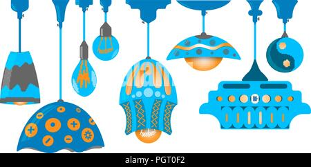 Set of eight hand drawn ceiling lamps isolated on white - Stock Photo