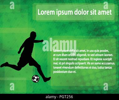 soccer player silhouette on the abstract background with space for text - vector - Stock Photo