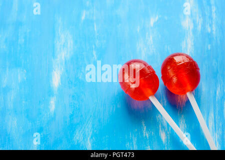 Red and blue, lollipops minimalism - Stock Photo