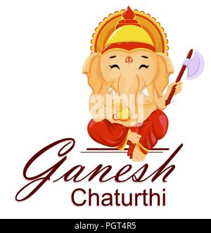 Happy Ganesh Chaturthi greeting card for traditional Indian festival. Lord Ganesha in cartoon style. Vector illustration. - Stock Photo