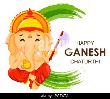 Happy Ganesh Chaturthi greeting card for traditional Indian festival. Lord Ganesha in cartoon style. Vector illustration on green watercolor backgroun - Stock Photo